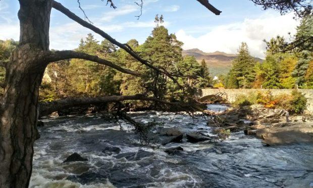 The beautiful Falls of Dochart. at Killin.