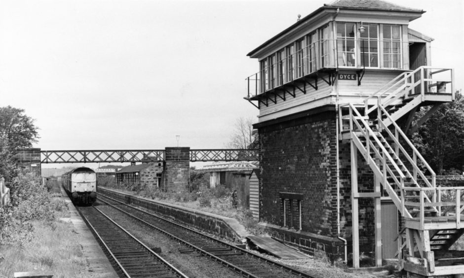 A train approaching Dyce Station, the start of the Formartine and Buchan Line, in 1960.