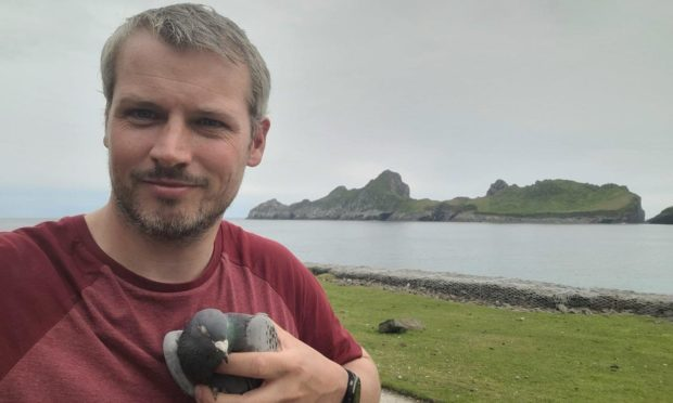 Conservationist Conor McKinney and the racing pigeon from Ireland nicknamed Declan he found on St Kilda.
