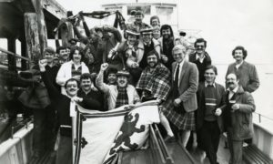 A group of Scotland supporters who watched the Scotland v Brazil game on board the Tay Queen in 1982.