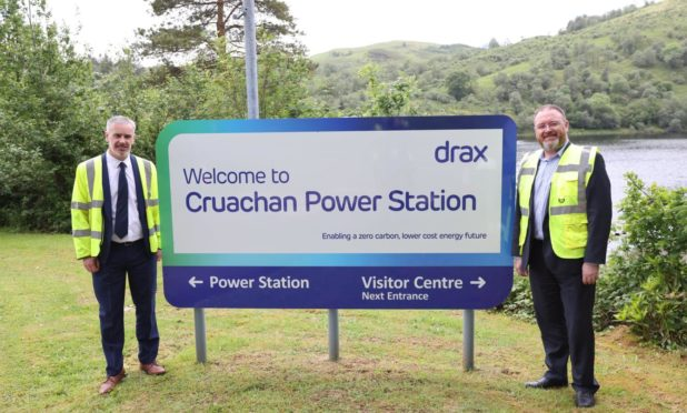 L-R Drax Group's Ian Kinnaird with UK Government Minister for Scotland, David Duguid, at Cruachan Power Station.