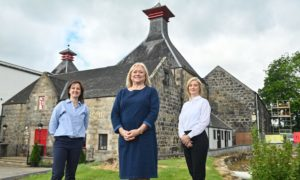 Roselyn Thomson (distillery manager), Barbara Smith (MD of Scotland Brand Homes) and Laura Sharp (home manager east).