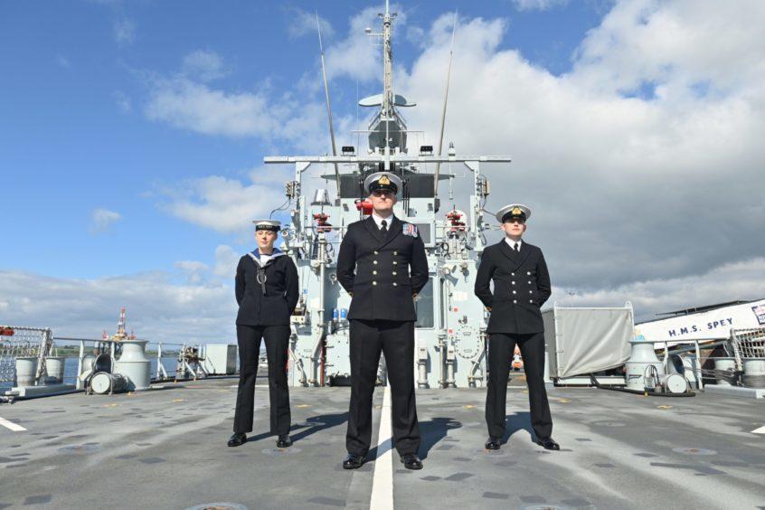 Annabel Trown Engineering Technician, Commanding Officer Ben Evans and Kieran Davies Sub Lt aboard HMS Spey.