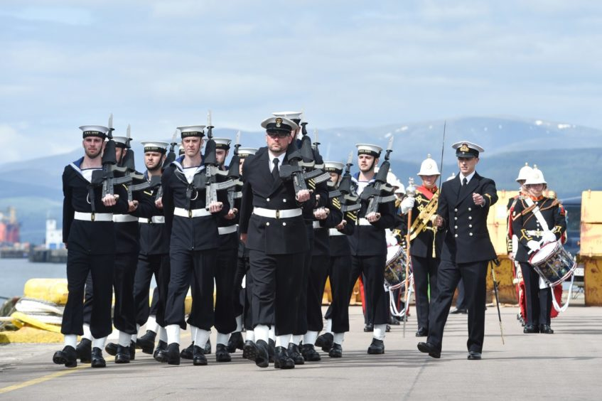Sailors on parade were accompanied by the Royal Marines Scotland Band during the ceremony.