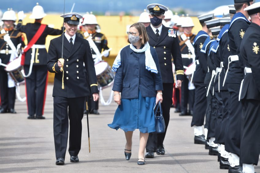 Ship's Lady Sponsor Lady Allison Johnstone attended to inspect the troops and bistow her best wishing upon them ahead of deployment overseas.