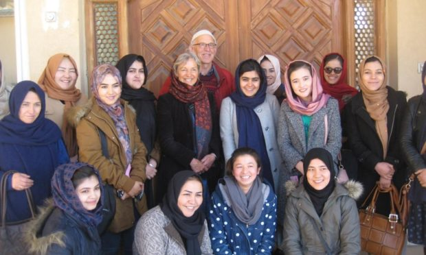 John and Lorna Norgrove with Afghanistan scholarship students.