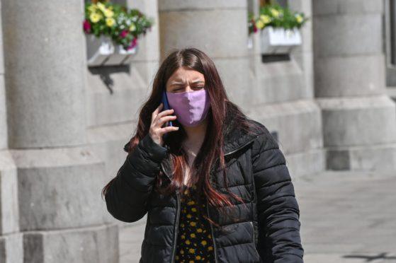 Hadlae-Beth Taylor leaves Aberdeen Sheriff Court.