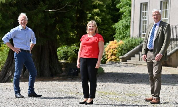 L to R: Peter Cooke, Anna Mitchell and Roderic Bruce at Thainstone House, Inverurie