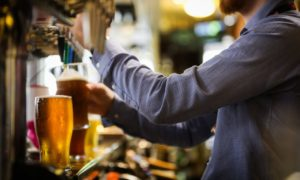Alcohol sales in Scotland have dropped to a new low but are still above recommended levels.