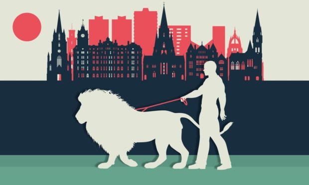 A lion on a leash caused some raised eyebrows in Edinburgh.