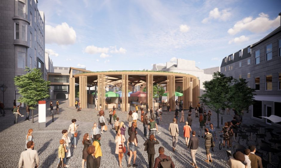 View from The Green: Concept images of a redeveloped Aberdeen Market and BHS in Union Street, being proposed by Aberdeen City Council. Councillors approved the purchase of the former department store last month.
