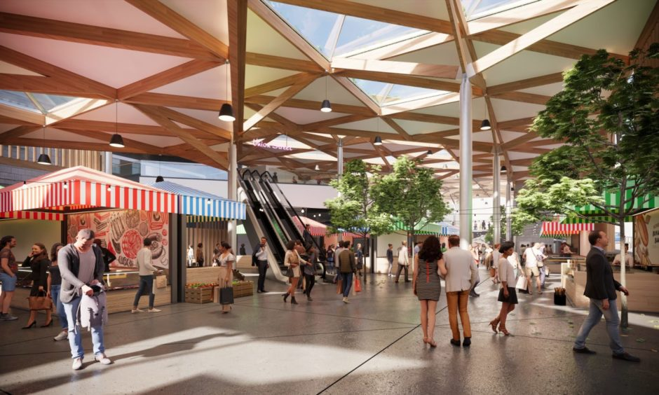 Inside the market hall: Concept images of a redeveloped Aberdeen Market and BHS in Union Street, being proposed by Aberdeen City Council. Councillors approved the purchase of the former department store last month.