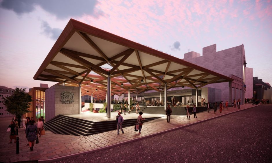 View from Market Street: Concept images of a redeveloped Aberdeen Market and BHS in Union Street, being proposed by Aberdeen City Council. Councillors approved the purchase of the former department store last month.