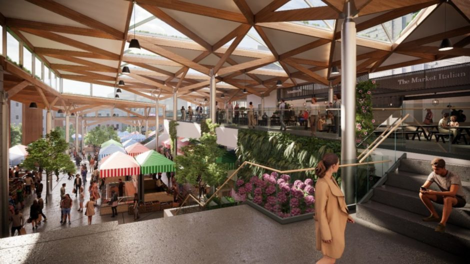 Concept images of a redeveloped Aberdeen Market and BHS in Union Street, being proposed by Aberdeen City Council. Councillors approved the purchase of the former department store last month.