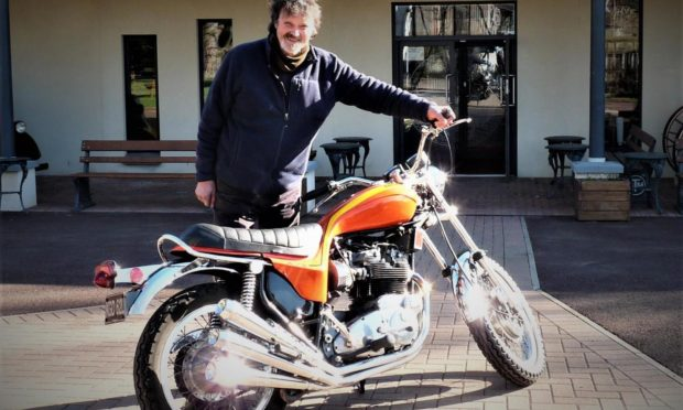 Mike Ward with the GTM latest addition for the season, the rare Triumph Hurricane.