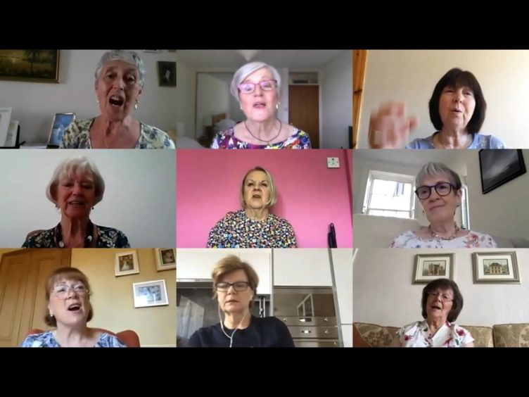 Ladies of the Aberdeen group, Musical Memories singing together on a Zoom call