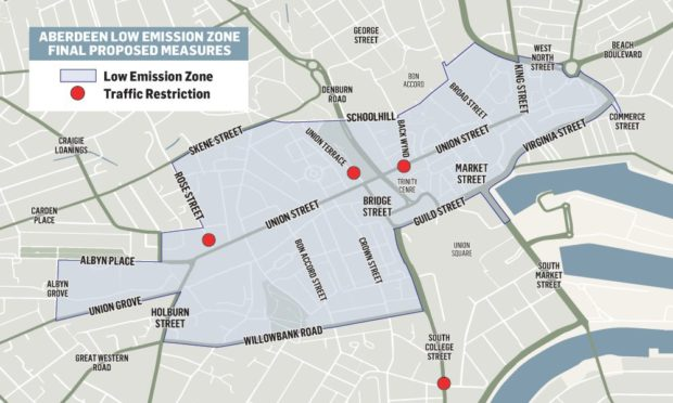 The final boundaries agreed for Aberdeen's planned low emission zone.