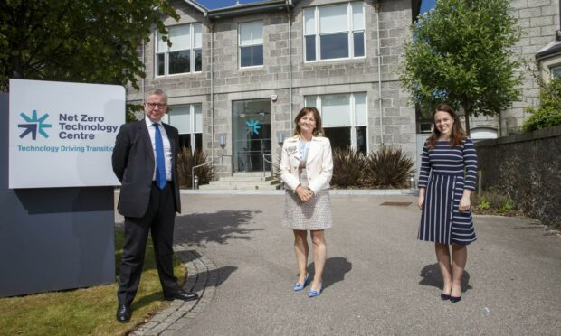l-r UK Government Minister Michael Gove, NZTC chief executive Colette Cohen and Scottish Finance and Economy Secretary Kate Forbes at the Net Zero Technology Centre in Aberdeen.