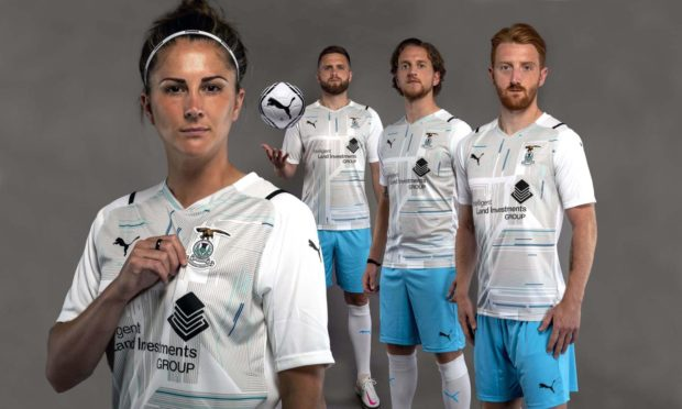 ICT's new away kits modelled by Natalie Bodiam, new signing Tom Walsh, centre-back Danny Devine and 2020/21 player of the year David Carson. Picture by Trevor Martin