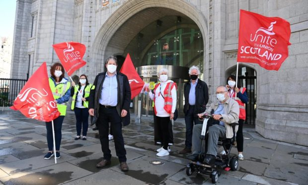 Council workers on strike outside Marischal College