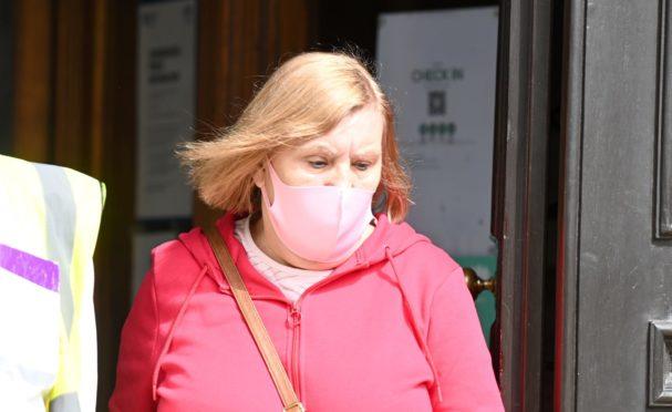 Lorriane Mearns leaving Aberdeen Sheriff Court.