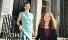 L-R Pippa Robertson & Maggie Bochel outside their office in Aberdeen's Rubislaw Terrace