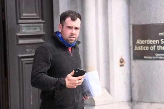 Sean Cahill leaving Aberdeen Sheriff Court.