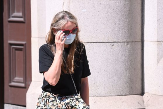 Emma Johnston leaving Aberdeen Sheriff Court.