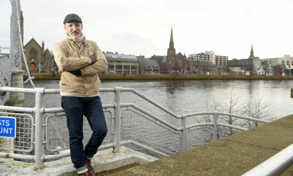 Douglas Hardie by the River Ness, which will flow through the centre of the planned trail route.
