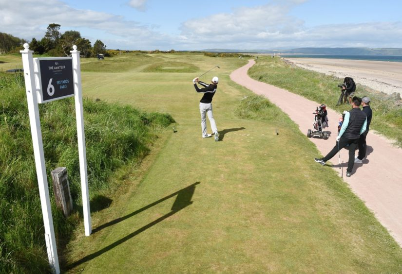 Calum Scott on the sixth tee on the way to victory over Harley Smith.