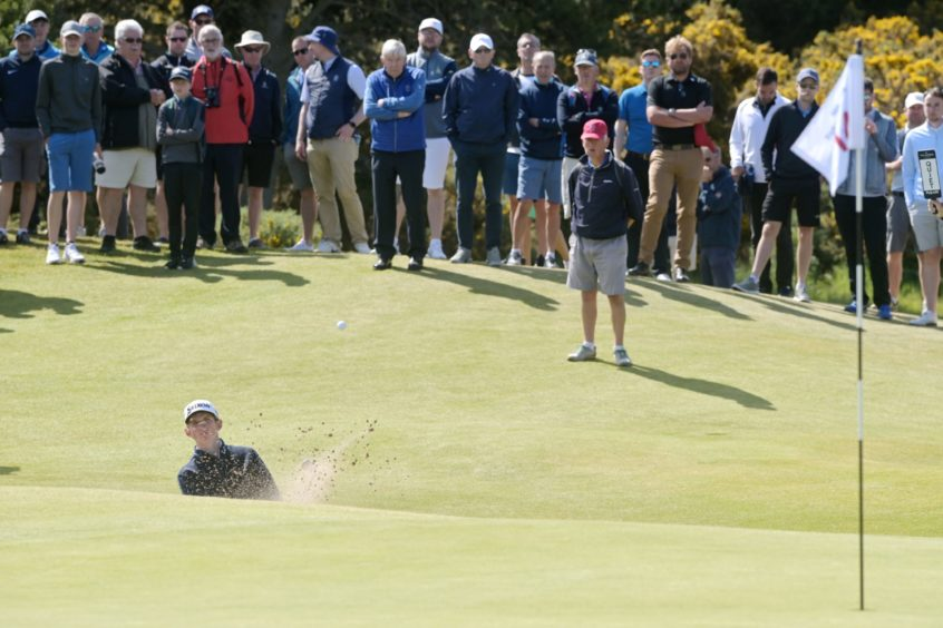 Calum Scott chips from a bunker on to the 14th green in his quarter-final loss to James Ashfield.