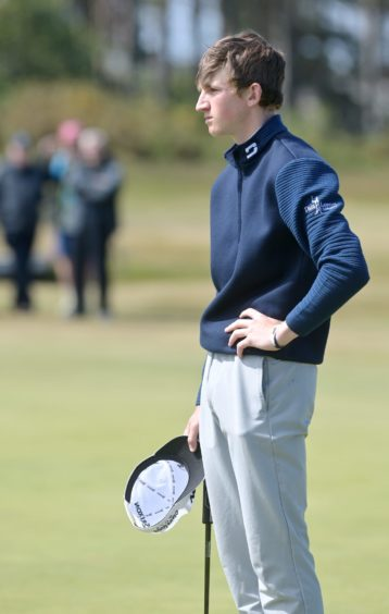 A disappointed Calum Scott on the 17th green after losing his last eight match to James Ashfield.