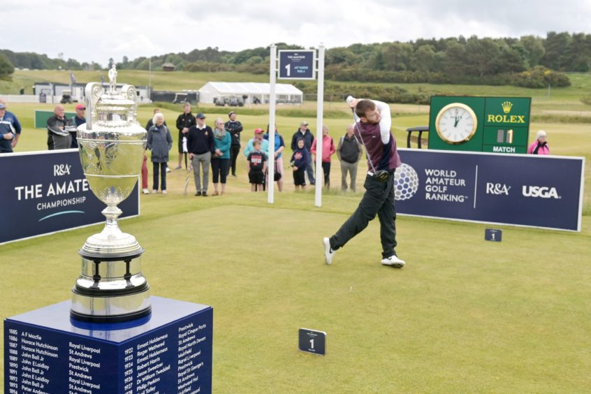 The trophy was in sight for Monty Scowsill and Laird Shepherd in Saturday's final at Nairn Golf Club.