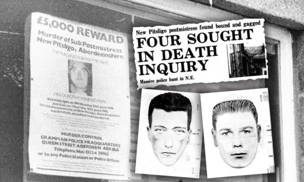 A reward poster featuring Dorothy Park and police e-fits of the two men thought to have killed her in 1981.