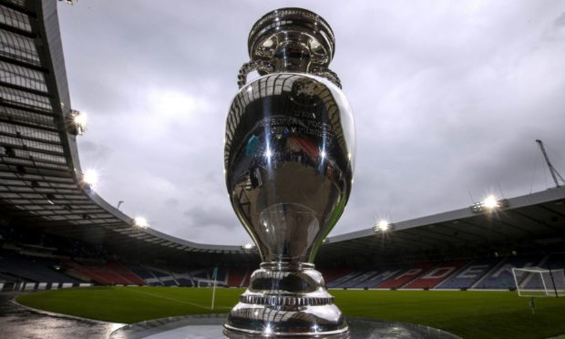 The European Championship trophy pictured at Hampden.