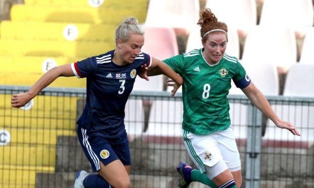 Scotland's Rachel McLauchlan, left, tussles with Northern Ireland's Marissa Callaghan