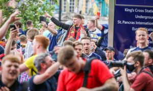 Scotland fans at London's Kings Cross Station ahead of the match between Scotland and England.