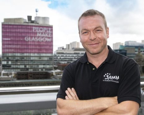 To go with story by Jake Keith. Olympic legend Sir Chris Hoy is backing the Feel Your Personal Best campaign. Sir Chris, who is Great Britain?s joint-most successful Olympic athlete of all time, has been SAMH?s Ambassador for over ten years.  Picture shows; Chris Hoy supporting SAMH (Scottish Association for Mental Health). Glasgow. Supplied by SportScotland Date; Unknown