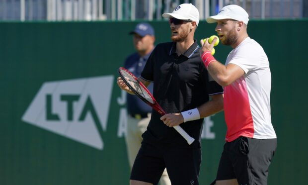 Jamie Murray (left) and Luke Bambridge in their match against Fabrice Martin and Edouard Roger-Vasselin during day five of the Viking International at Devonshire Park, Eastbourne.