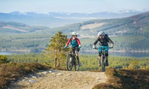 Mountain biking in the Cairngorms National Park.