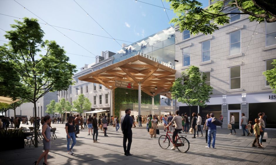 View from Union Street, the front of the former BHS department store: Concept images of a redeveloped Aberdeen Market and BHS in Union Street, being proposed by Aberdeen City Council. Councillors approved the purchase of the former department store last month.