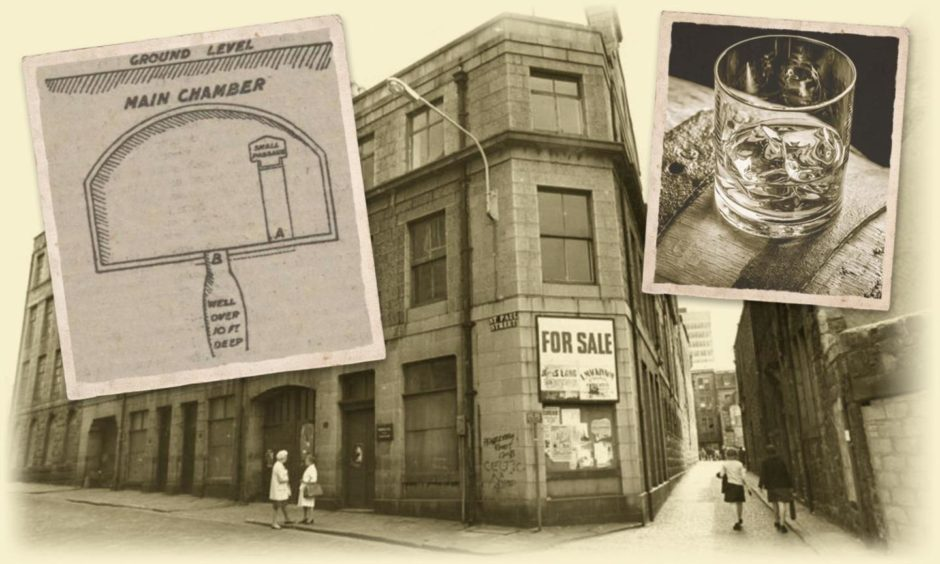 The Farquhar and Gill building on St Paul Street in Aberdeen and, inset, an illustration of the chamber from 1912 and whisky.
