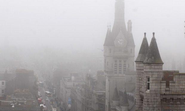 Aberdeen City Centre fog haar cityscape