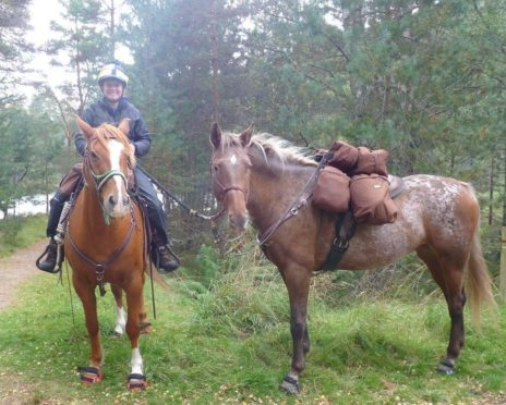 Long-distance horse-rider Claire Alldritt with her horses Yogi and Swift.