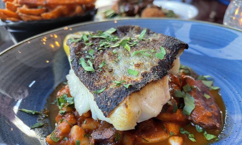 Pan-seared black cod.