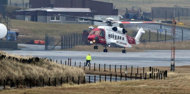 Locator of Sumburgh Airport, Shetland.   Picture by Jim Irvine  24-1-16    Coastguard helicopter