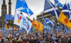 Crowds at a Scottish independence rally in Glasgow.