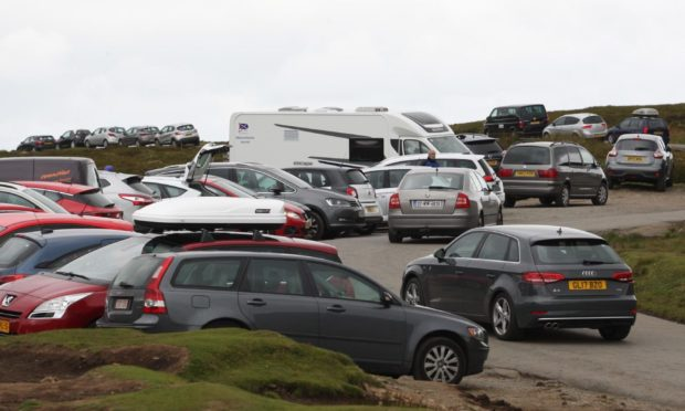 Busy car park in Skye.