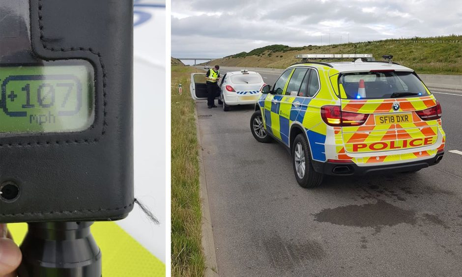 Police stopped a driver on a section of the A90 as they reached speeds of 107mph.