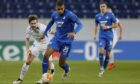 David Cancola (left) in action for Liberec against Hoffenheim's Kevin Akpoguma in the Europa League.